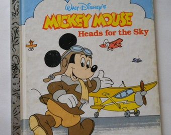 Mickey Mouse Book - Vintage Little Golden Book - Mickey Mouse Heads for the Sky - Vintage Disney Storybook