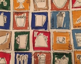 Half yard cotton fabric remnant; cute kitchen items, colorful kitchen fabric