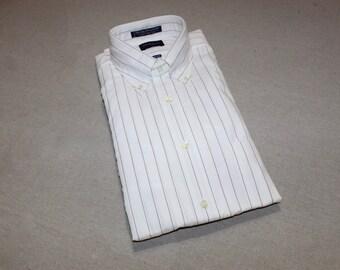 vintage 70's - 80's -Gant- Dress shirt. 'New Old Stock'. *Heritage Broadcloth* - White w/ pinstripes. Split yoke and locker loop. 15 x 33