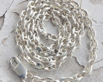 Sterling Silver Anchor Chain. Solid Sterling Silver Chain, Marine Link Chain, 925 Chain, Feminine Chain, Anchor, Female Sailor, UK FREEPOST