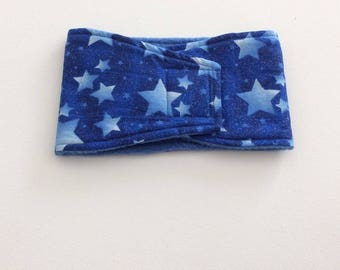 Dog Belly Band - Dog Diaper - READY TO MAIL - Blue Glitter Stars - Large