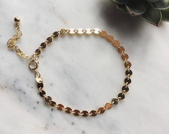 Gold filled sequin bracelet, Lola, tiny disc bracelet