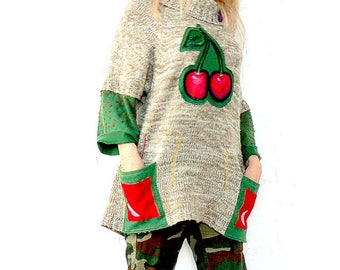 Fantasy sweater-tunic appliqued with by hand paint cherry.Made from recycled sweater.Hippie boho.Unique design.