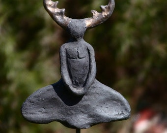 "handcrafted mystical ceramic figure ""Cernunnos"""