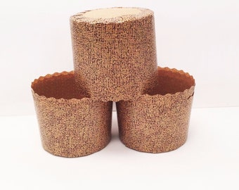 24 Brown Patterned Bake In Cups Cupcake Liners Muffin Recycled Paper Greaseproof Wrappers