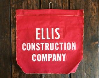 Ellis Construction Company Advertising Banner, Vintage Safety Flag, Cloth Banner, Vintage Pennant