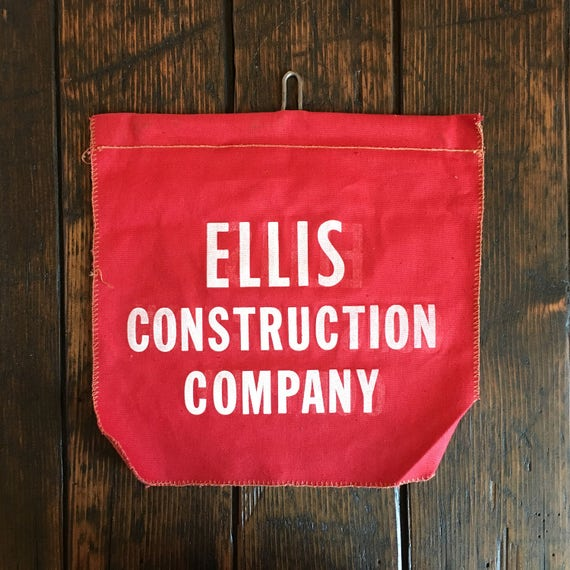 Ellis Construction Company Advertising Banner, Vintage Safety Flag, Cloth Banner, Vintage Pennant