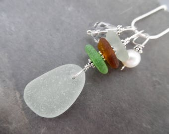 Sterling Sea Glass Necklace Pendant Beach Jewelry Sea Foam Stacked