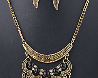 Elegant Black Turquoise necklace jewelry Feather necklace statement Gypsy Boho jewelry Ethnic Necklace Tribal Necklace Earrings Golden