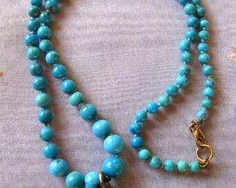 18K solid Gold necklace, Arizona Turquoise necklace