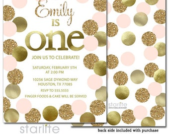 1st Birthday Invitation Girl Pink and Gold, Pink and Gold 1st Birthday Invitation, First Birthday Invite Pink and Gold Printable, Printed