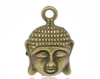 2 brass 22mm x 15mm Buddha head charms