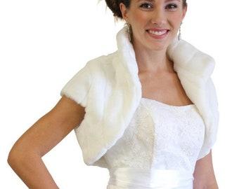 Easter Sale White Faux Fur  Shrug Bridal Bolero Crop Jacket 603NM-WH-L