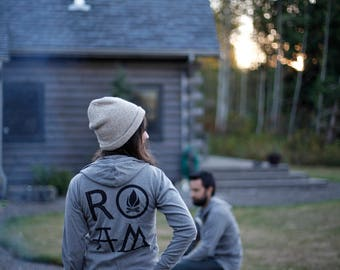 Wanderlust ROAM Sweatshirt Zip Up Hoodie, Unisex Clothing Gift for Men Women, LIGHTWEIGHT Hoodie, Adventure Shirt, Gray Camping Zip Pullover