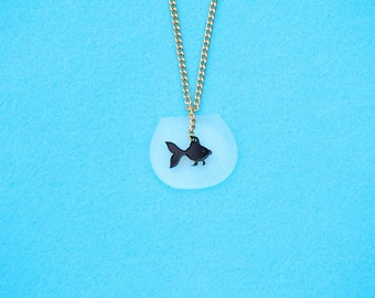 Tiny Black Fish Necklace, Fish Bowl Kawaii Necklace, Fish Necklace,Black Fish Charm, Mini Aquarium Necklace, Fish Bowl Necklace
