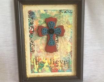 Believe Mixed Media Framed Cross Art
