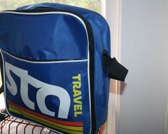 Retro Vintage Travel Carry On  Messenger Bag Sta Travel Company Blue Rainbow