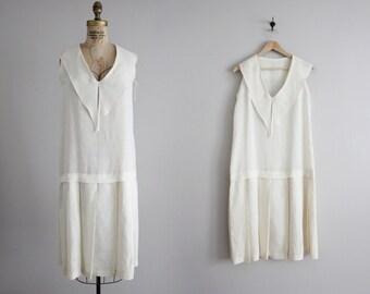 white linen dress / sailor dress / drop waist dress