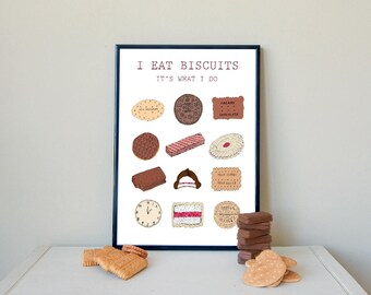 Biscuits, biscuit poster, I eat (Aussie) biscuits, wall art, wall decor, illustration, drawing, print, original art print