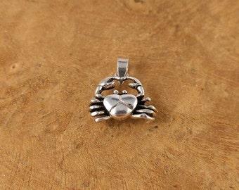 Silver Crab Pendant - Small - Animal - Silver Necklace