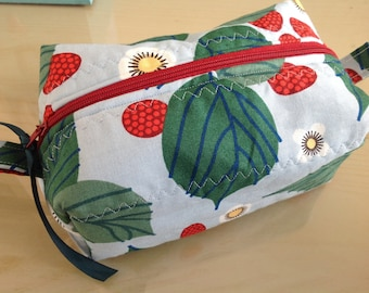 Cosmetic bag, toiletry bag, pencil case, zippered pouch, raspberry, quilted bag, quilted pouch,