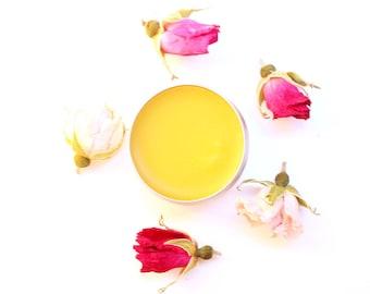 Wild Rose Balm, organic rose infused salve, the original, beauty balm, soothing, toning - 1/2 oz tin