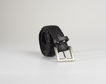 Upcycled bike tire tyre belt. Ethical, recycled rubber bike tyres - Waterproof Eco Fashion.