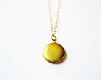 Tiny locket necklace, locket necklace, gold brass locket necklace , modern necklace, gold locket necklace, minimalist locket necklace