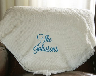 Personalized Cotton Basket Weave Throw, Custom Throw, Monogrammed blanket, Personalized holiday throw, Christmas Blanket Present