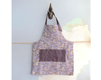 Toddler Apron with pockets - Paisley purple