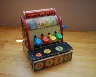 Fisher Price Wooden Cash Register 1960's - Vintage Toy