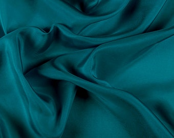 """45"""" Wide 100% Silk Habotai Teal-Wholesale by the Yard (2000M198)"""