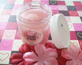 LOVE Story Sugar Scrub - Body Polish - Vegan Friendly - Cruelty free - gift for her - Cherry Blossom, White Jasmine, Peach  - 1 oz or 4 oz.