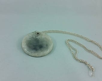 Necklace: white + grey resin feather pendant, double-sided, on silvery chain; gift for her