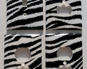 Zebra Print Light Switch Plate Outlet Cover Wall Decor Bundle Set