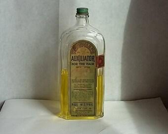 Vintage Art Deco Bottle w/label Westphal's Auxiliator for the Hair, Shampoo