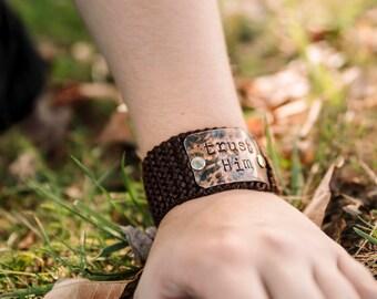 Custom Hand Stamped Trust Him Cuff, Personalized Scripture Bracelet, Brown Stamped Cuff, Christian Bracelet
