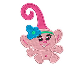 Trolls BABY POPPY * Machine Filled Embroidery * Instant Digital Download