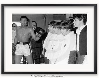 Cassius Clay & The Fab Four Poster