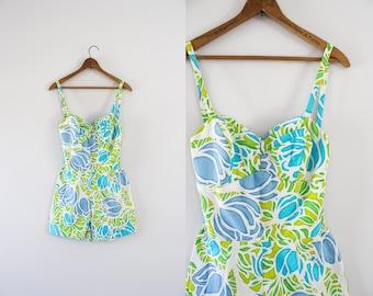 1950s Summer Bloom hawaiian cotton tulip swimsuit / 50s sweetheart