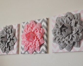 "THREE Flower Wall Decor - Gray And Light Pink - 12 x 12 "" Canvases - Chevron Wall Art - Baby Nursery Wall Decor -"