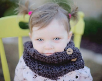 Toddler Cowl - Childrens Cowl - Custom Infinity Scarf -  Neck Warmer - Adult Cowl - Button Up Cowl - Wooden Button Cowl - Christmas Gift