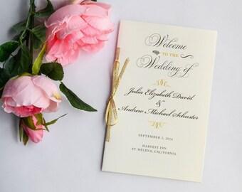 Gold Wedding Program, Gold Glitter Programs, Ceremony Programs, Vintage Wedding, Order of Ceremony - Gold Glitter Program Sample