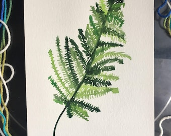Fern-tastic, Original Art, 7x11, Watercolor, Greens