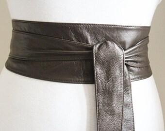 Dark Brown Obi Tie Belt, Leather Obi Belt,  Corset Waist belt,  Ladies Leather Belt, Plus Sizes, Brown belts