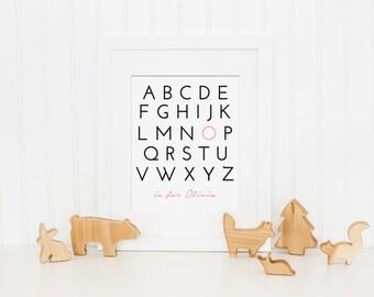 Alphabet Art, Name Art - Wall Art, Art Print, Nursery Decor - Custom Colors - Girl Nursery Art, Boy Nursery Art - Digital Download