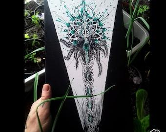 Painting, acrylic, Mercury's caduceus (Owlkemii - instagram)