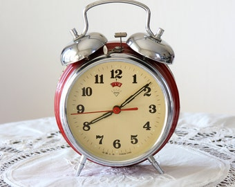 Vintage Large Alarm Clock Wind up desk clock Working 1970's twin bell clock Collectible double bell Old metal table clock Retro home decor