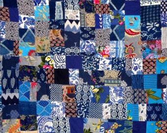 PATCHWORK - AKKA in blue and multicolored cotton sold by the yard
