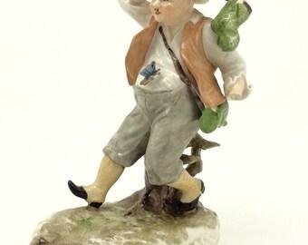 """Muller Volkstedt Continental Porcelain Figure Man Catching Butterflies 14cm 5.5"""""""